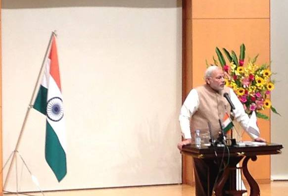 Mr. Modi spoke about women's issues at the University of the Sacred Heart.