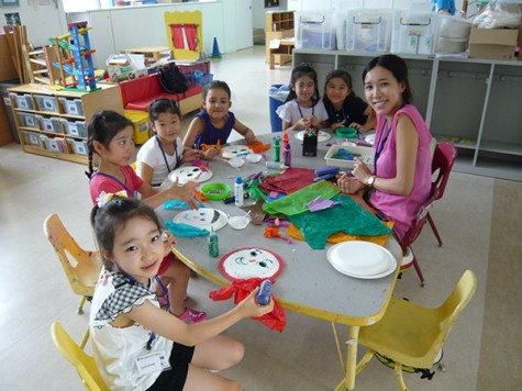 Third grade students taking Arts and Crafts at EFL summer school