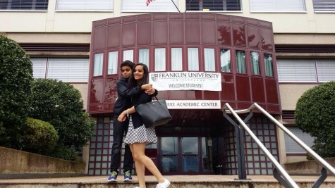Hanin and her brother during orientation week at Franklin University in Switzerland.