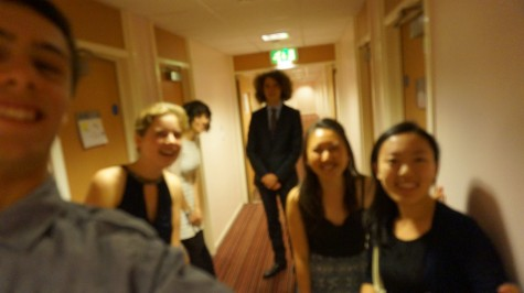 Miki Saito and her corridor friends at the University of