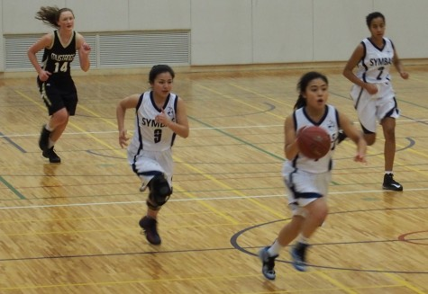 Anna (11) Dribbles Down the Court