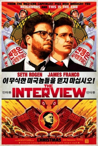 """Teaser poster with original release date. The Korean text reads """"The war will begin"""", """"Do not trust these ignorant Americans!"""" and """"Awful work by the 'pigs' that created Neighbors and This Is the End"""""""