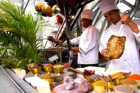 Chefs prepare for lunch buffet.