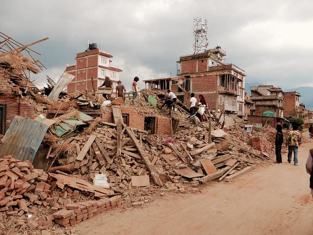 A street view of Kathmandu, Nepal, shows the severe extent of damage in the aftermath of the massive earthquake.