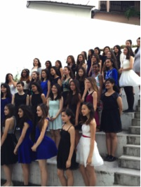 The eight graders line up for the annual semi formal photo shoot.