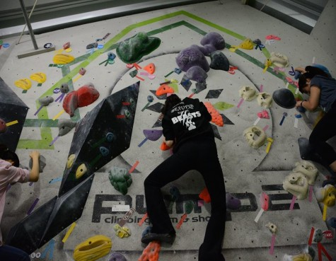 The sophomores try bouldering