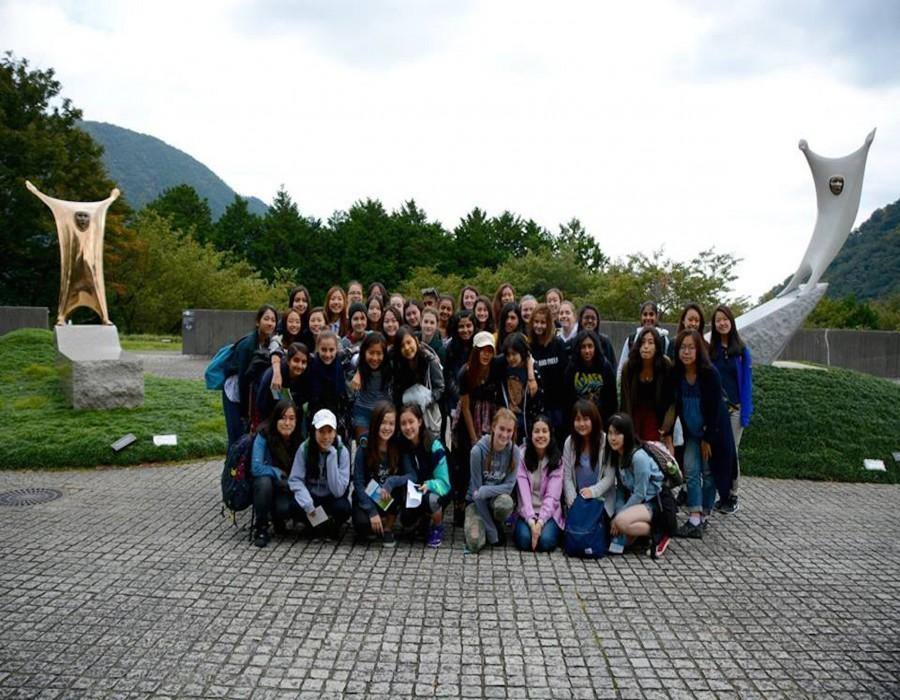 The sophomores at the Hakone Open Air museum