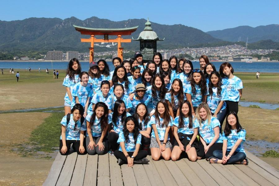 Day 2: Class of 2016 poses in front of the Itsukushima Shrine