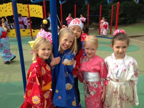 Students dressed in yukata on Japan Day.