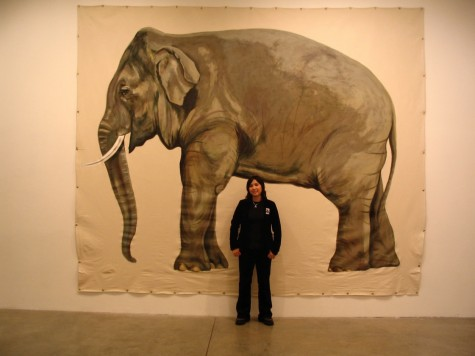 Mayuka and her life size painting of Billy the elephant