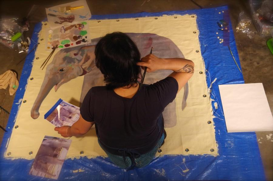 Mayuka+Thais+Painting+Life-Size+Baby+Asian+Elephant