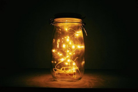 Mason jar lanterns were placed around the stage to give the event a festive feel.