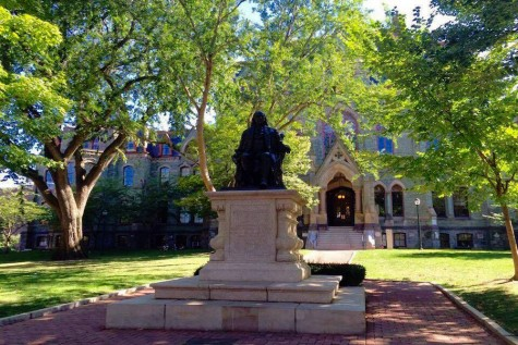 A statue of Benjamin Franklin, the founder of the University of Pennsylvania.