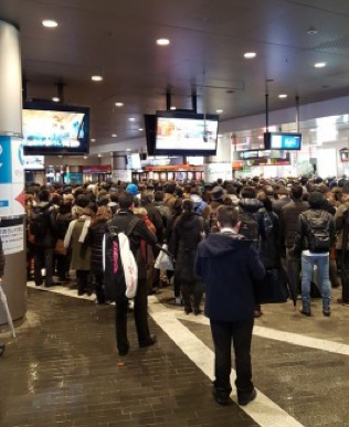 Photo Credit: Ms. Mehta Outside the ticket barrier of Futako Tamagawa when they weren't letting people into the station.