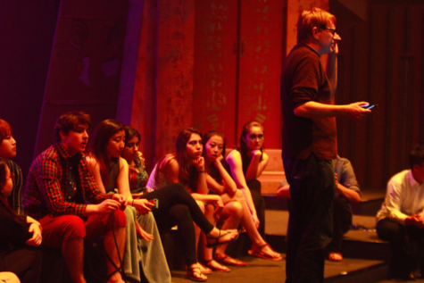 The cast listening to the director, Mr. Hagans.