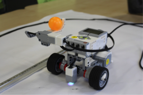 Robot throwing a football (a.k.a a ping pong) to make a goal.