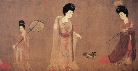 "Zhou Fang's ""Court Ladies Wearing Headdresses"" painted during the Tang Dynasty."