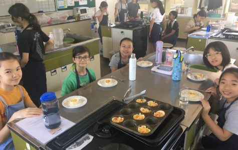 Students from different nations enjoying the food they cooked in Global Kitchen.