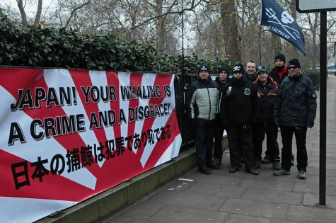 A Sea Shepherd protest against whaling in front of a Japanese embassy in London in 2010.