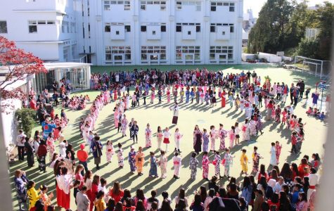 All students and teachers from the kindergarten, junior school, middle school, and high school gather in the playground to celebrate the school's annual event, Japan Day.