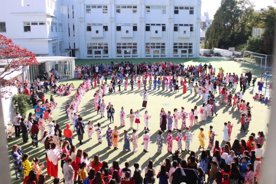 All+students+and+teachers+from+the+kindergarten%2C+junior+school%2C+middle+school%2C+and+high+school+gather+in+the+playground+to+celebrate+the+school%E2%80%99s+annual+event%2C+Japan+Day.+