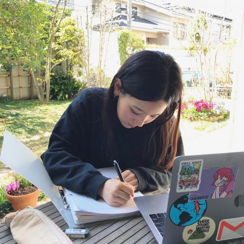 Lili M. (11) is making the most of learning from home during the extended closure.