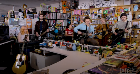 "Harry Styles performs ""Watermelon Sugar"" at the Tiny Desk Studio on February 25th, 2020."