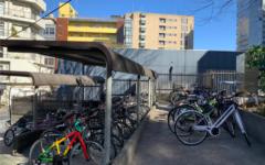 Sacred Heart bicycle racks. (Image by Allysha Y.)
