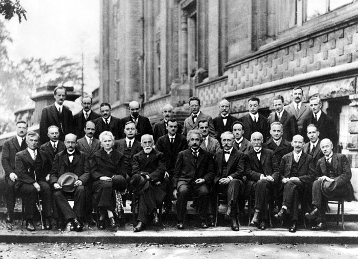 Photo from the 5th Solvay Conference in 1927, Marie Curie – sitting in the front row, third from the left – is the only woman invited.
