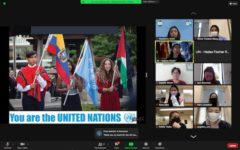 Students participating in the UN Virtual Tour.